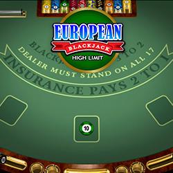European Blackjack High Limit Banner 2